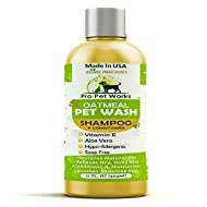 Pro Pet Works All Natural Organic 5 in One Oatmeal Pet Shampoo + Conditioner-Soap Free Blend with Almond Oil for Allergies & Dry Sensitive Skin-17oz (PH Balanced for Cats & Dogs)