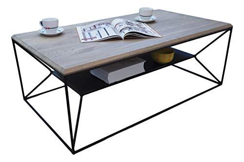 Lumarc Teramo - Mesa de salón de madera maciza de roble natural con diseño moderno industrial minimalista, rectangular, 110 x 60 x 40 cm (gris)