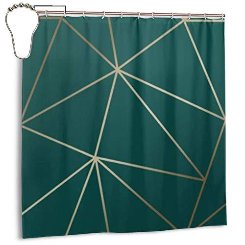 Zara Duschvorhang, schimmernd, metallisch, geometrisch, smaragdfarben, für Badezimmer, wasserdicht, Polyester, mit Metallhaken, 183 x 183 cm