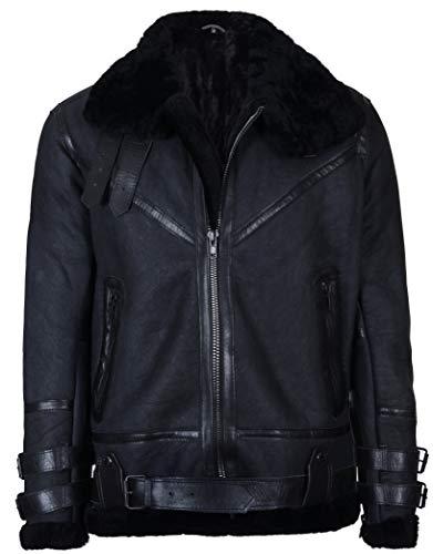 Infinity Leather Herren Jahrgang Schwarz B3 Schaffell Flieger Fliegende Lederjacke 3XL