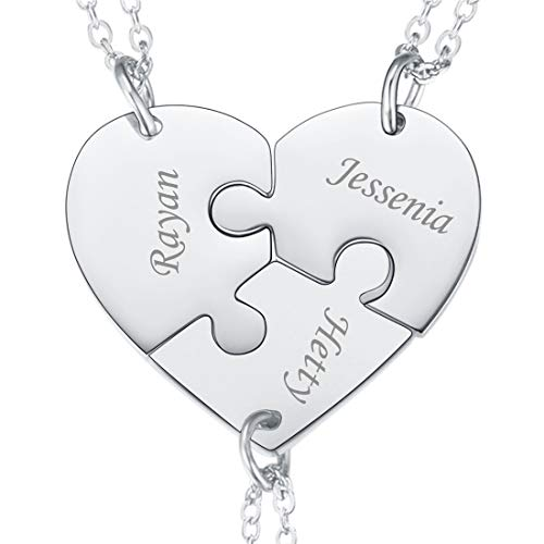 U7 BFF Necklace for 2/3/4 /5/6 Best Friends Stainless Steel Chain Personalized Family Love/Friendship Jewelry Set Personalized Engraving Heart Pendants (Set of 3 Stainless Customized)