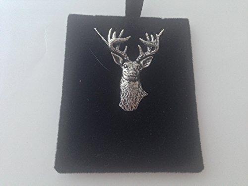Collar chapado en platino en 3D con diseño de ciervo de cola blanca A22, hecho a mano de 45,7 cm, con embalaje de orgullo en detalle