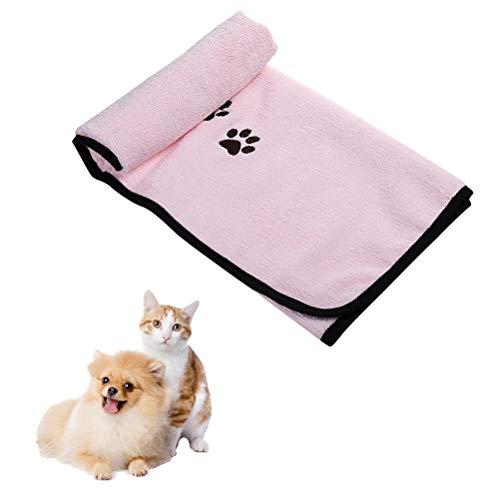 Popopop - Toalla para perro súper absorbente para mascotas de secado rápido, toalla para perros pequeños, medianos, grandes, perros y gatos rosa (19,7 x 35,4 pulgadas)