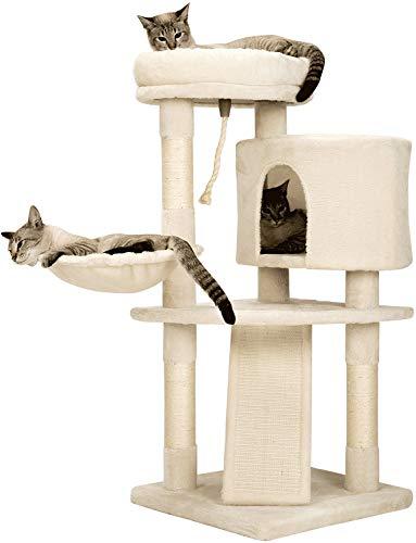 Mwpo キャットタワー 猫タワー スロープ付き 登り降りしやすい 爪とぎ 子猫 シニア ジャンプ苦手の子も楽々...