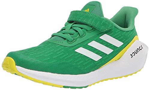 adidas unisex child Eq21 Elastic Running Shoes, Vivid Green/White/Acid Yellow, 3 Little Kid US