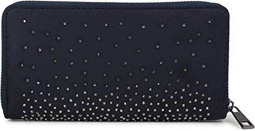 styleBREAKER Damen Geldbörse mit Strass Nieten, Reißverschluss, Portemonnaie 02040111, Farbe:Midnight-Blue/Dunkelblau