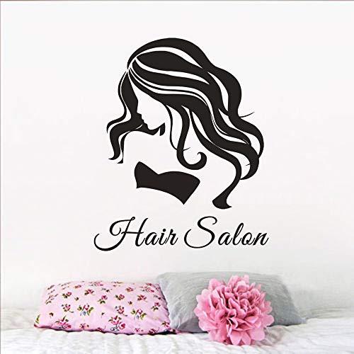 Peluquería etiqueta de la pared belleza pelo chica pared arte cartel corte de pelo tienda decoración extraíble diseño de pelo etiqueta de la pared A5 42x51 cm