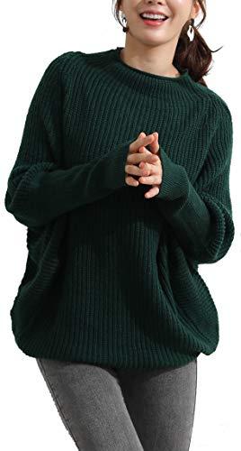 LongMing Damen Rollkragenpullover Oversized Loose Fledermaus?rmel Winterpullover Damen Wolle Pullover Sweater (S, Green)