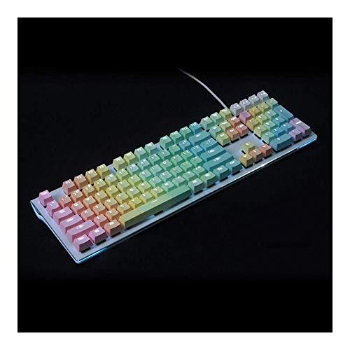 Keycaps replacements 108キーバックライトダブルショットレインボーグラデーションPBTキーキャップセットプロファイルメカニカルゲームキーボード(軸本体:キット2、カラー:ブルーグラデーション) (Color : Rainbow gradient, Size : Kit 1)