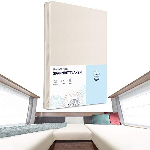 Beeke® Premium Spannbettlaken Wohnmobil [3 teilig] - Multi-Stretch Bettlaken für Wohnwagen-Heckbett [Made in Germany] - 97% Baumwolle und 3% Elasthan [Oeko-TEX Standart 100 für Babys] - 200 g/m²