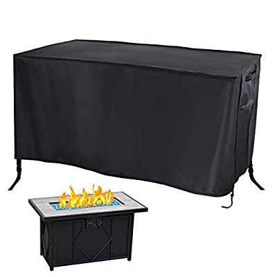 "Rilime Patio Fire Pit Cover Rectangular 42""L x 24""W x 24""H, Outdoor Garden Waterproof Windproof Anti-UV Heavy Duty for Bali Outdoors Propane Gas Fire Pit Table with Drawstring Bucklrs & Air Vents"