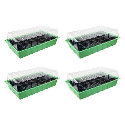 Quantio 4X Zimmergewächshaus - für bis zu 96 Pflanzen, ca. 36 x 22 x 12 cm (LxBxH) je Mini Gewächshaus, Kunststoff, grün/schwarz/transparent