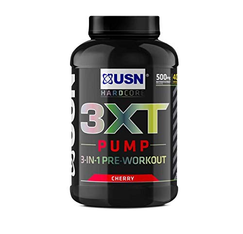 USN 3XT Pump Cherry 840 g: Pre Workout Supplement Energy Drink With Caffeine, Enxtra and AstraGin