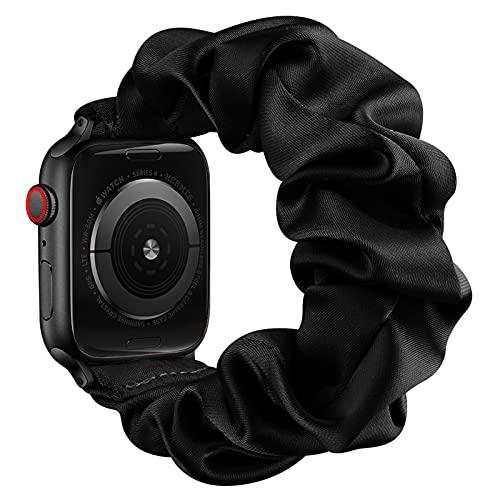 AdirMi Compatible con Apple Watch Series 1, 2, 3, 4, 5, 6 SE, bandas elásticas para Apple Watch para mujeres, bandas elásticas para Apple Watch 42/44 mm, 38/40 mm, negro, 42/44 mm (L)