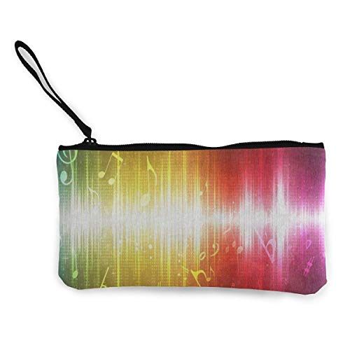 Unisex Wallet, Coin Bags, Canvas Coin Purse Abstract Glowing Music Note Customs Zipper Pouch Wallet for Cash Bank Car Passport