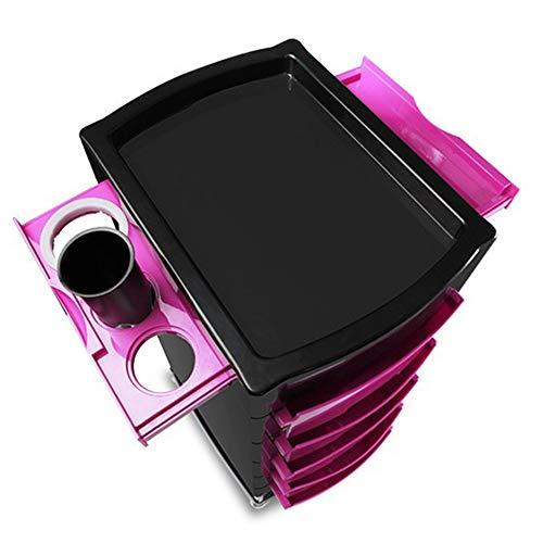Friseurwagen YXX Großer Salon Friseur Wartung Lagerwagen, Multifunktionaler 6-Ebenen-Beauty-Rollwagen Mit Rädern Und 5 Schubladen, Pink