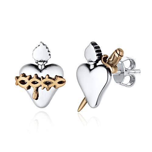 Sterling Silver Stud Earrings for women Hypoallergenic Dainty Sacred Heart Earrings Crown of Thorns Arrow Heart Mismatched Earring Studs Christian Jewelry For Women Men Girls Boys