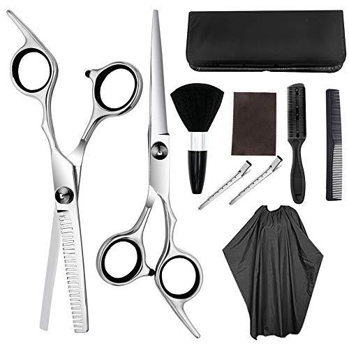 Ciseaux Coiffure, Ciseaux à cheveux Professionnel Kit de ciseaux de coiffure Ciseaux de coupe de cheveux Brosse à cheveux Pince à cheveux Cape Peigne de toilettage for salon de coiffure Outils de coi