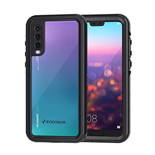 Focusor Cover Huawei P20 PRO,Custodia P20 PRO Impermeabile[IP68 Certificato Waterproof] Cover Slim Antiurto Antineve Antipolvere AntiGraffio Subacquea Protettiva Caso per Huawei P20 PRO(Nero)