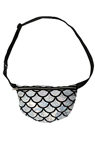 Pilot Pilot Women's Sliver And Black Light Weight Mermaid Scale Print Bum Bag in Silver, size One Size