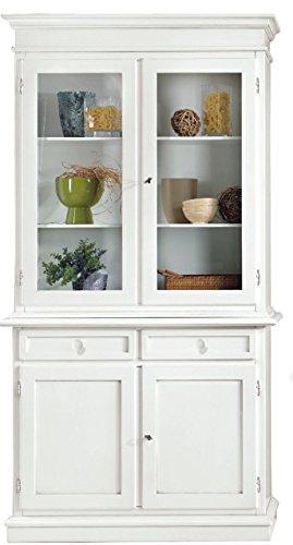 CLASSICO vetrina Shabby Chic bianca mobile sala credenza alta con cassetti 105x42x205 1383
