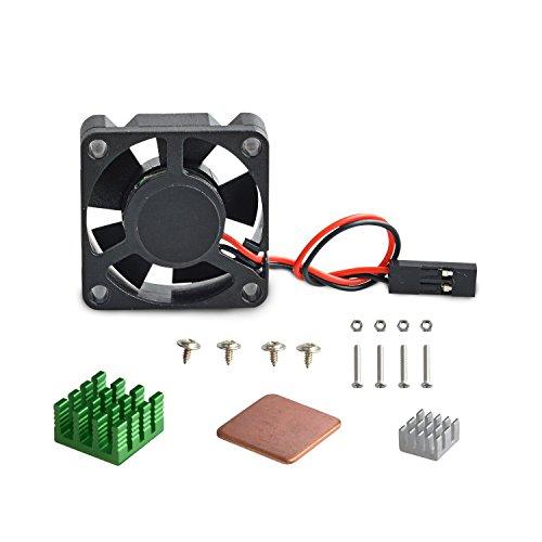 Aukru sin escobillas DC 5V 0.2A Ventilador + los disipadores de calor para Raspberry Pi 2 modelo B / Raspberry Pi 3 Modelo B, B+