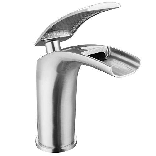 ShiSyan Faucet Cascada de Cobre Faucet Sliver Baño Sola manija Faucet Vanity Flaging Basin Mezclador Tap sin Ruido Cocina