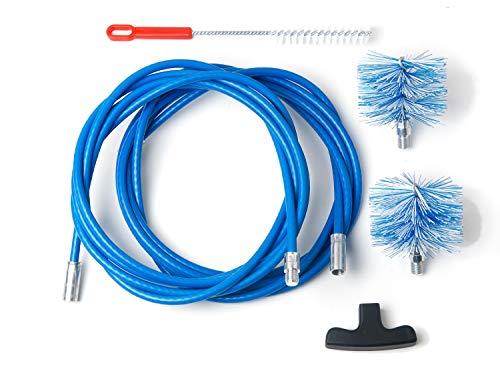 BARETTO Kit per la Pulizia della Stufa a Pellet - Prolunga da 9 Metri, Curvatura Massima 90° - 2 Scovoli Standard in Nylon (1 da 80mm e 1 da 100mm)