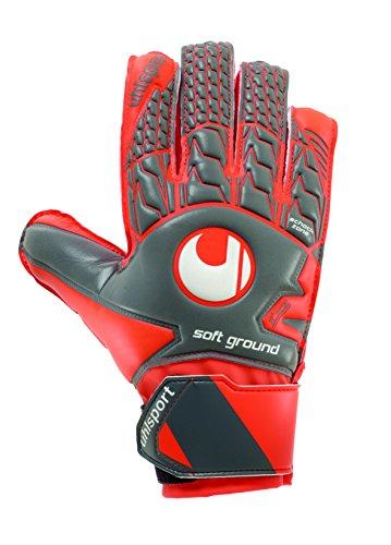 uhlsport - AERORED SOFT ADVANCED - Gants de gardien de foot - Homme - Gris (Gris Foncé/Rouge Fluo/Blanc) - Taille: 9