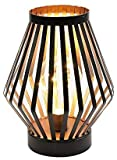 JHY DESIGN 8.7in Tall Metal Cage LED Lantern Battery Powered Cordless Accent Light with LED Edsion Style Bulb Great for Weddings Parties Patio Events for Indoors Outdoors
