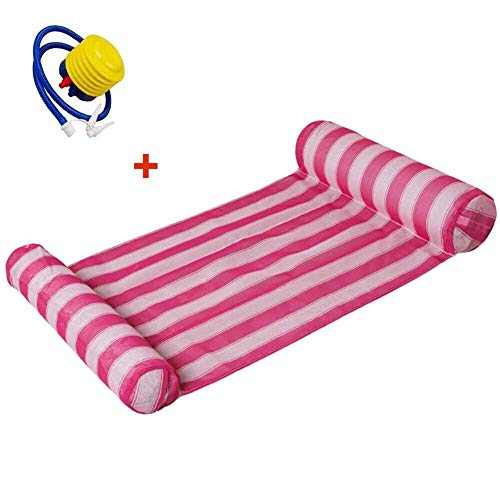 Inflatable Floating Water Hammock Float Lounge Bed Swimming Pool Chair with Pump zcaqtajro (Color : Pink)