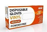 ANSIO Guantes de Vinilo Desechables, guantes desechables paquete de 100, No estéril, sin polvo ni látex Guantes Talla - M