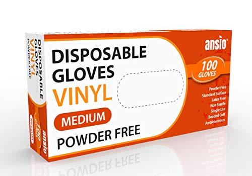 Guantes desechables de vinilo sin polvo, tamaño mediano, paquete de 100