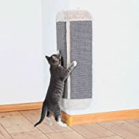 Scratching board for wall mounting Rear side covered with plush Sturdy woven fabric/plush material Each sisal surface 14 cm width by 47 cm height Protects areas the cat would use to mark with scratches