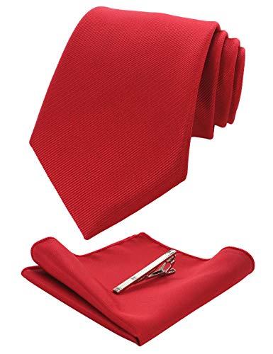 JEMYGINS Herren Hochzeit Krawatten und Einstecktuch krawattenklammer Set einfarbig in verschiedenen Farben, Rot, M