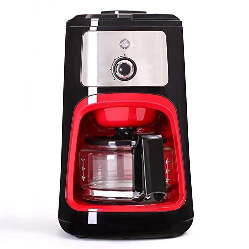DWLXSH Vollautomatische Kaffeevollautomat, Cappuccino, Espresso Kaffeemaschine, 600ML Filter Kaffeemaschine mit Kaffeemühle und GlasCarafe Grinder