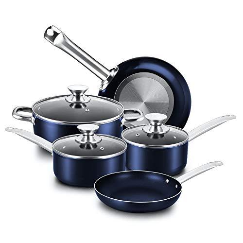 COOKER KING Nonstick Cookware Set, 8-Piece Nonstick Pots and Pans Set with Glass Lids