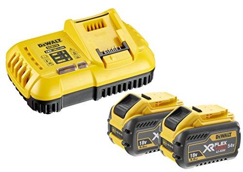 Dewalt XR Flexvolt Akku-Starterset DCB118X2 (bestehend aus 2x XR Flexvolt Akkus 54V, System-Schnellladegerät, als Starterset für die 54V Serie von Dewalt, auch als Ergänzung geeignet)