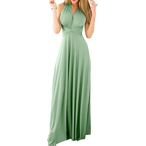 FYMNSI Donna Transformare Vestito Lunghe Senza Schienale Scollo a V Vita Alta Senza Maniche Multiway Avvolgere Damigella d' Onore Formale Maxi Abito da Sera Matrimonio Banchetto Verde Chiaro XL