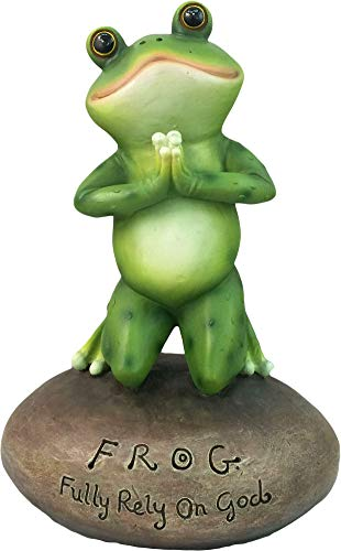 DWK - Blessed Assurance - Inspirational Cute Praying Frog On Rock Statue Novelty Collectible Frog Figurine Christian Religious Home Garden Office Décor, 6.5-inch