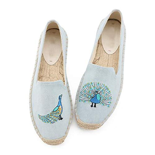 Moda para Mujer Alpargatas Lona de Verano Bordado Roma Resbalón en los Zapatos Casuales Correa del Tobillo Hemps Pescador Flats Mocasines