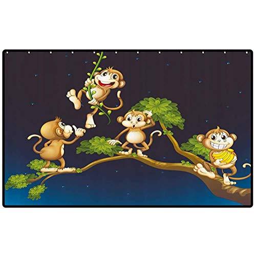 RenteriaDecor Nature Kitchen Mat Animal Theme Illustration of Four Cute Monkeys on The Tree Branch Art Door Mat Large Shoe Scraper Pet Mat