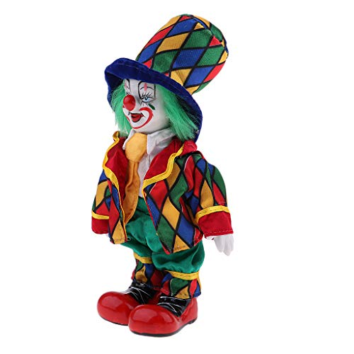 Lustige Stehende Porzellan Puppe mit Clown Kostüm, Ornament für Halloween Haus Tisch Dekoration - # 5