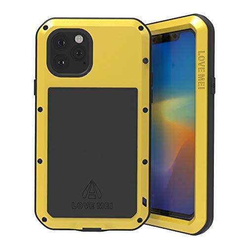 LOVE MEI para iPhone 11 Pro MAX Funda,Heavy Duty Antigolpes Impermeable a Prueba de Polvo Cubierta Caja de Protección Metal Aluminio Funda para iPhone 11 Pro MAX (6,5) con Vidrio Templado (Amarillo)