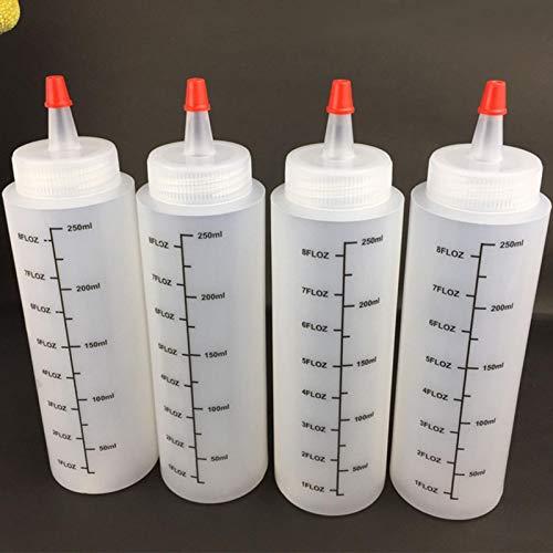 Quetschflasche,5 * 250ml Squeeze Flasche aus Kunststoff, Liquid-Flaschen mit auslaufsicher Tip Cap & Messungen, Aufbewahrungsbehälter für Ketchup/Senf/Mayo/Soßen etc