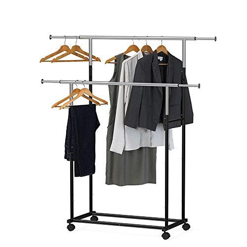 Dubbel ophangrail Telescopisch kledingrek, verstelbaar droogrek met metalen plank en 360 ° wielen, zwart