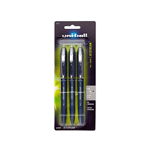 Uni-Ball Jetstream Stick Ball Point Pens, Fine Point, Black Ink, Pack of 3