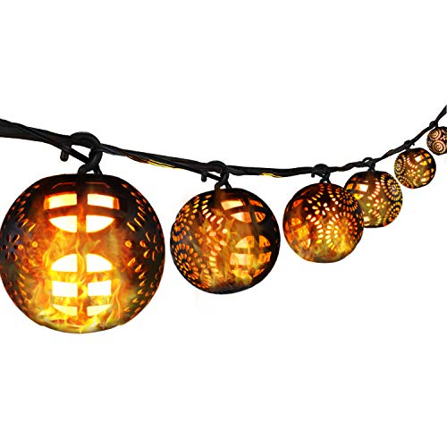 33ft Plug in Patio String Lights with 8 Flickering Flame Lantern Remote Control, Extendable for Indoor, Outdoor, Wedding Party, Christmas Tree, Garden Decoration