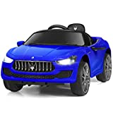 Costzon Ride on Car, Licensed Maserati Gbili 12V Rechargeable Battery Powered Electric Car w/ 2 Motors, Parental Remote Control & Manual Modes, LED Lights, MP3 (Blue)
