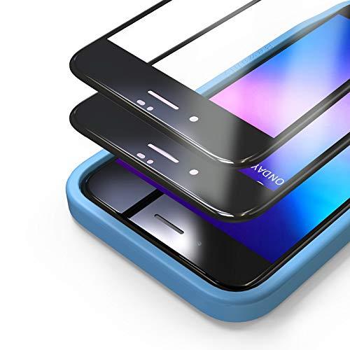 Bewahly Panzerglas Schutzfolie für iPhone 8/7 / SE 2020 [2 Stück], 3D Full Screen Panzerglasfolie 9H Härte Displayschutzfolie mit Installation Werkzeug für iPhone 8/7 / SE 2 (4,7 Zoll) - Schwarz